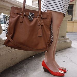 """MMK """"HAMILTON"""" LARGE NORTH SOUTH TOTE IN """"COGNAC"""""""